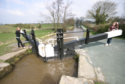 Opening the lock gates once the lock has filled